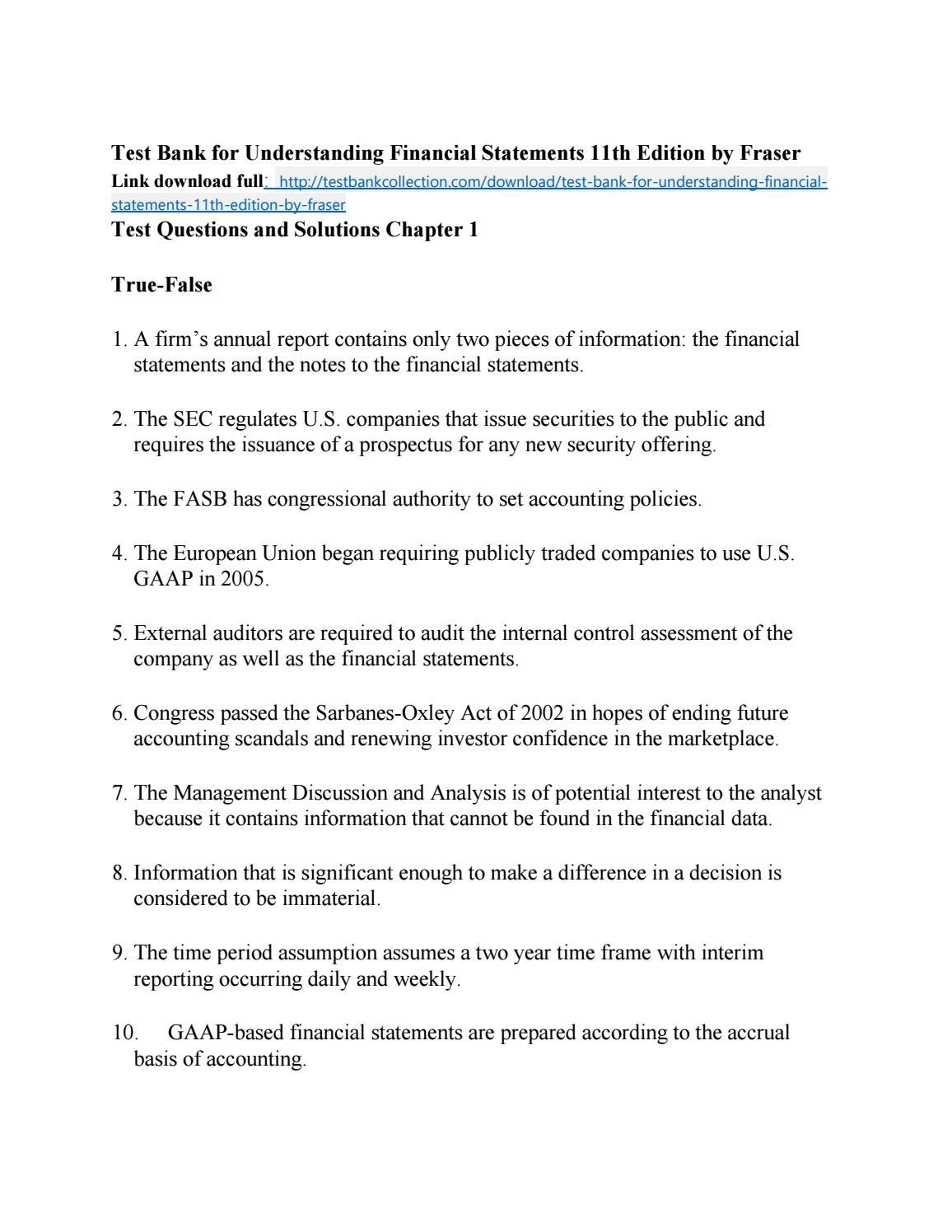 Test Bank For Understanding Financial Statements Th Edition Within Forensic Accounting Report Template