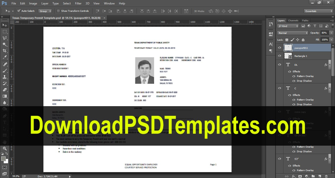 Texas Temporary Permit Template Psd Pertaining To Texas Id Card Template