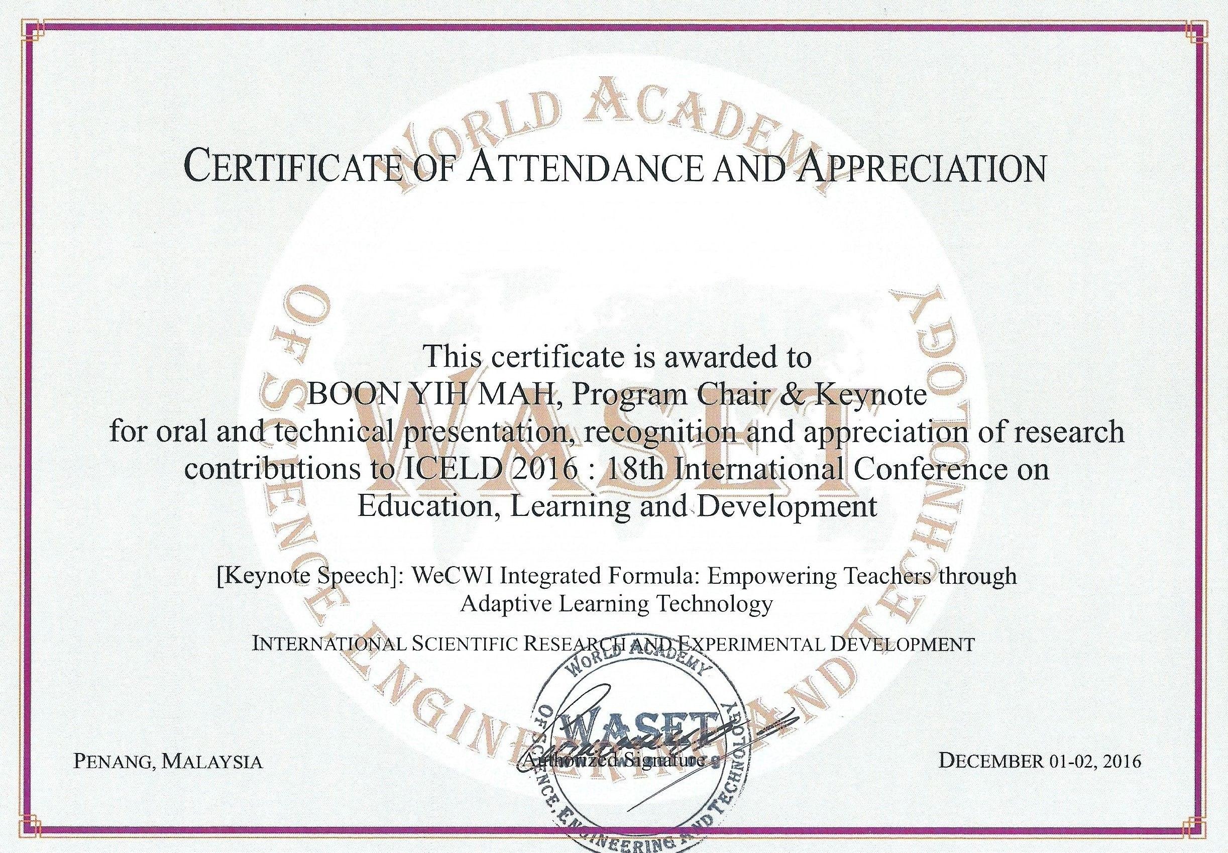 Th International Conference On Education Learning And Development With International Conference Certificate Templates