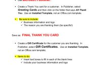 Thank You Card  Gift Certificate Microsoft Publisher inside Publisher Gift Certificate Template