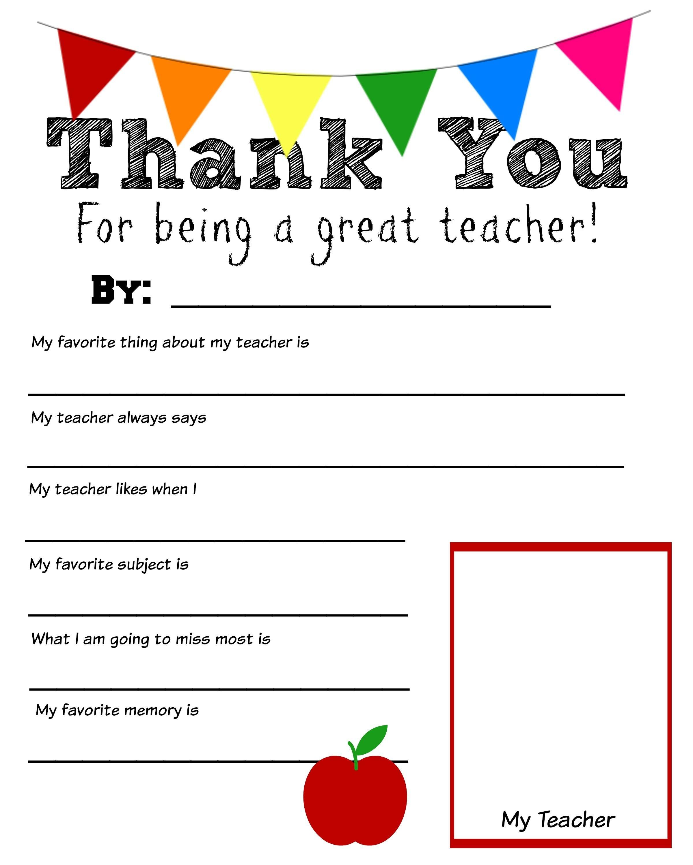 Thank You Teacher Free Printable  School Days  Teacher Throughout Thank You Card For Teacher Template