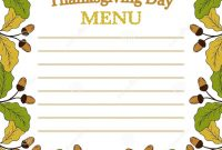 Thanksgiving Day Menu Sketch Stock Vector  Illustration Of Icon with regard to Thanksgiving Day Menu Template