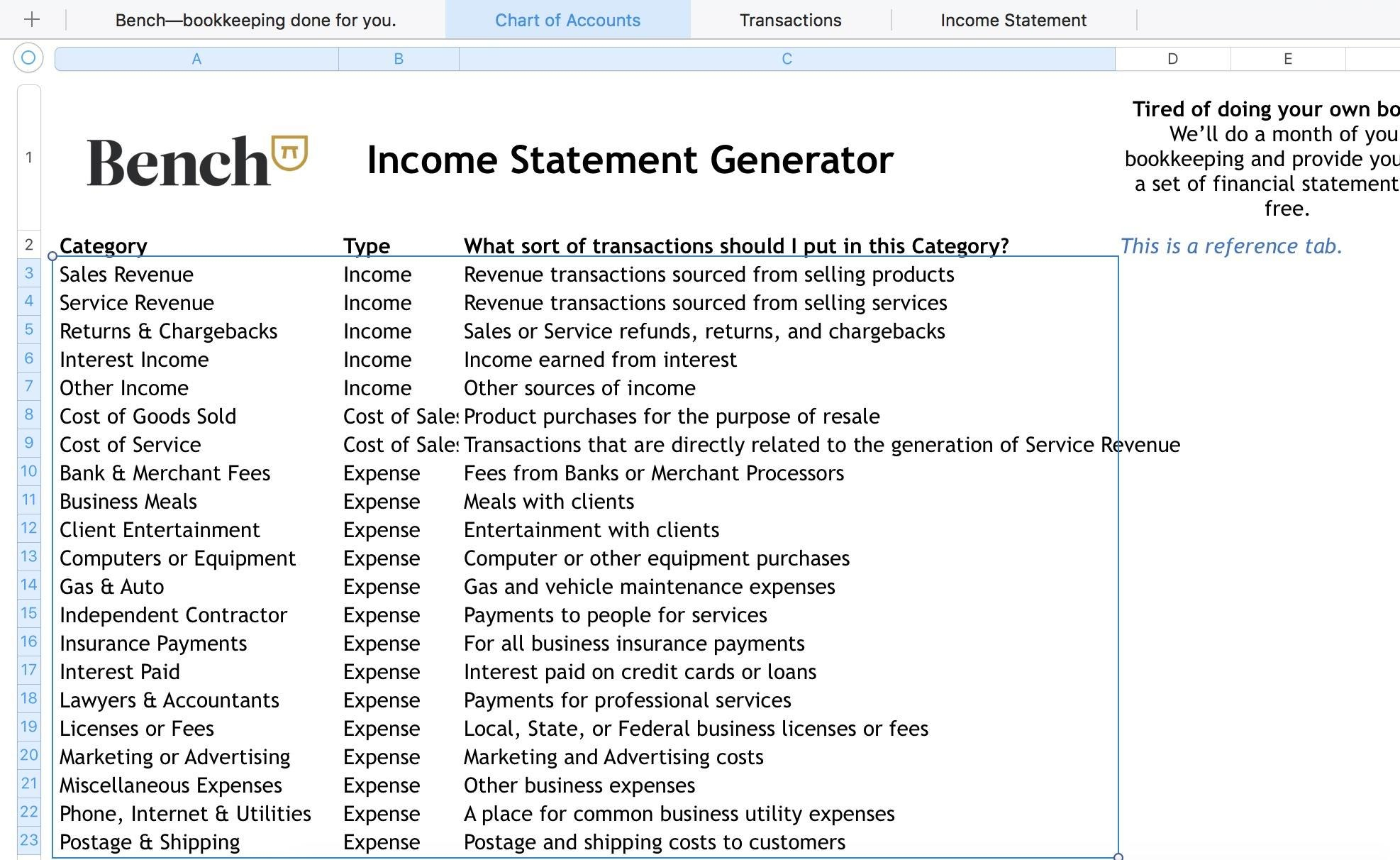 The Bench Guide To Bookkeeping In Excel Template Included  Bench With Regard To Credit Card Statement Template Excel