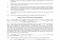 The Sample Of Unanimous Shareholder Agreement Template Printable inside Unanimous Shareholder Agreement Template