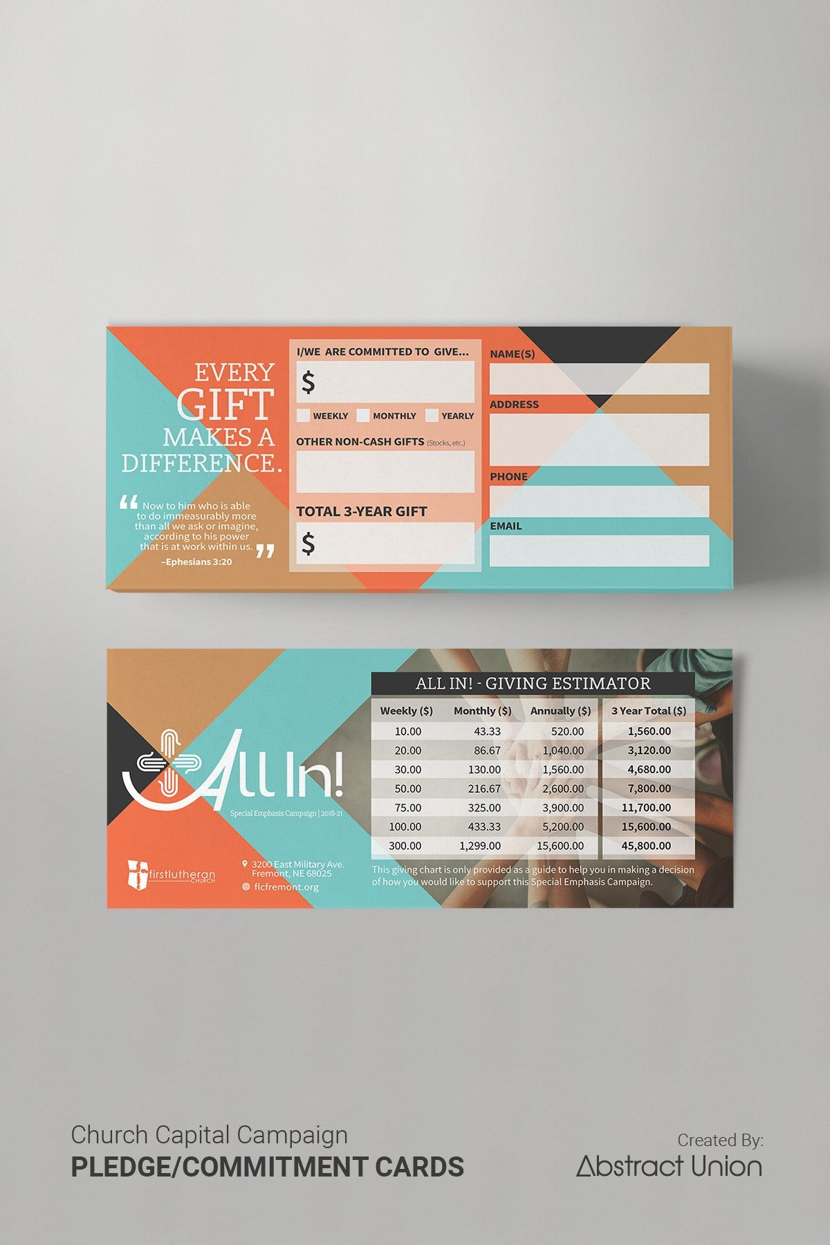 This Vintagemodern Card Concept Was One Of Many Deliverables Our With Regard To Pledge Card Template For Church