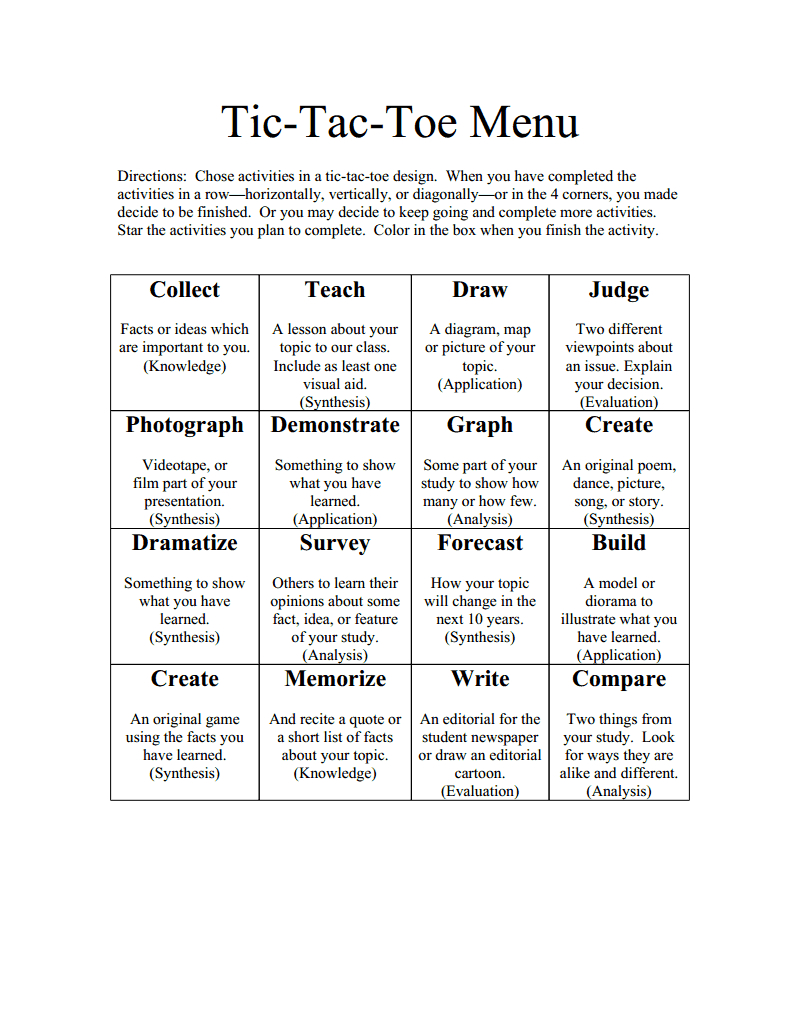 Tictactoemenubloomsdoc  Learning Menus And Choice Boards Throughout Tic Tac Toe Menu Template