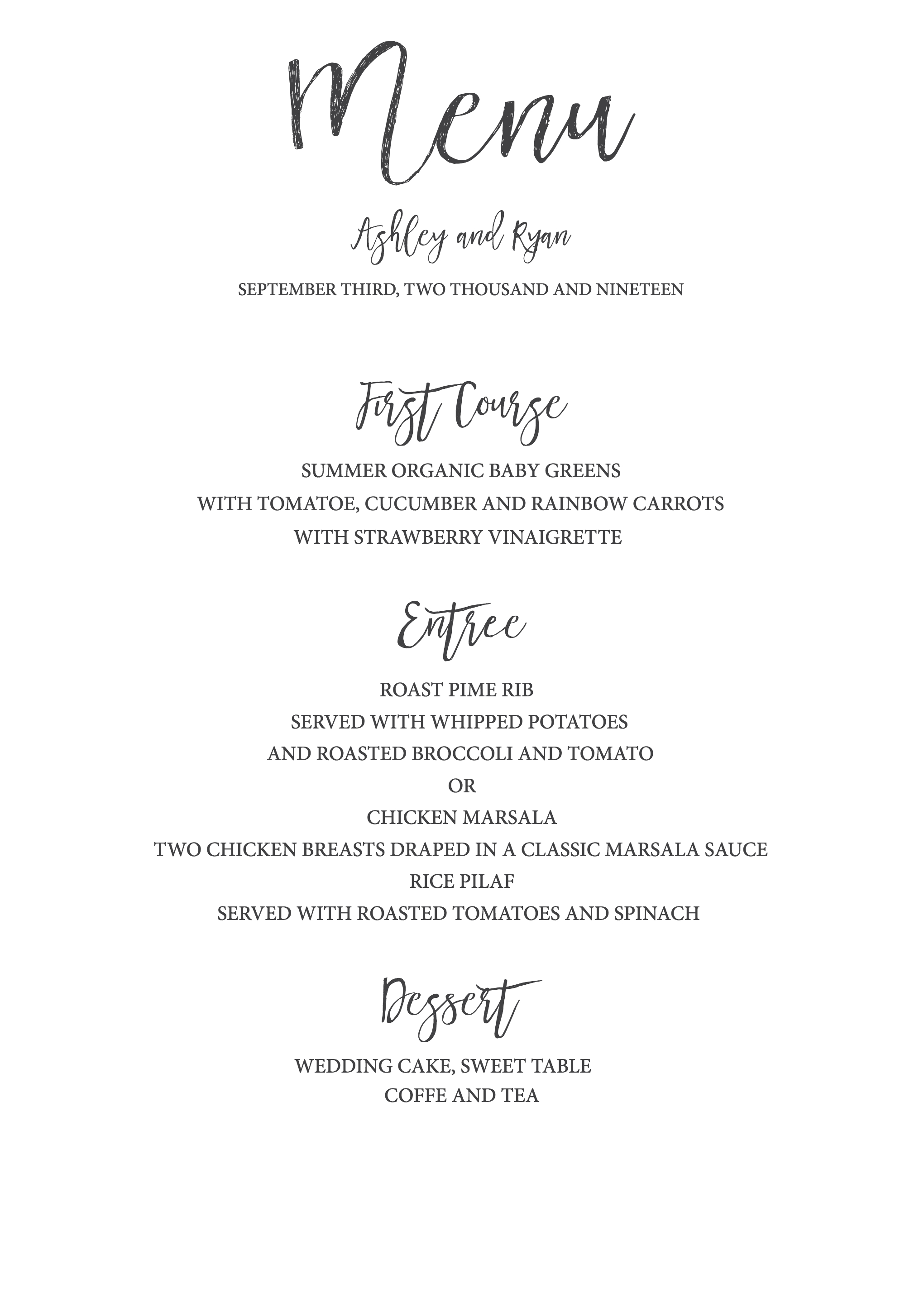 Timeless And Simple Wedding Invitation  Freebies  Free Printables Regarding Free Printable Menu Template