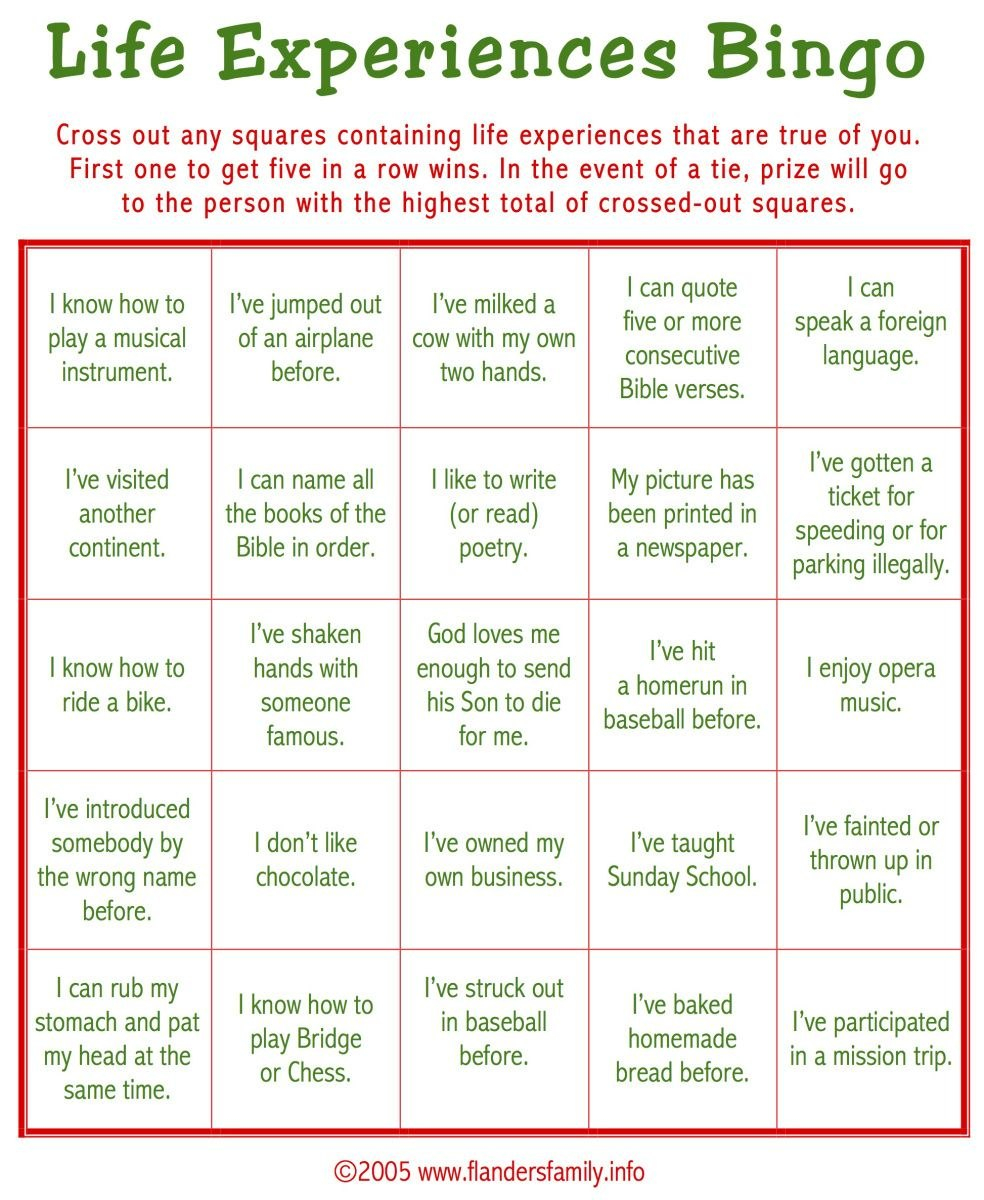 "Today's Game Is ""life Experiences Bingo"" This Makes A Great Ice Within Ice Breaker Bingo Card Template"