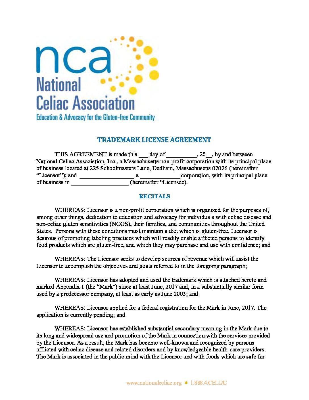 Trademarklicenseagreement – National Celiac Association Pertaining To Free Trademark License Agreement Template