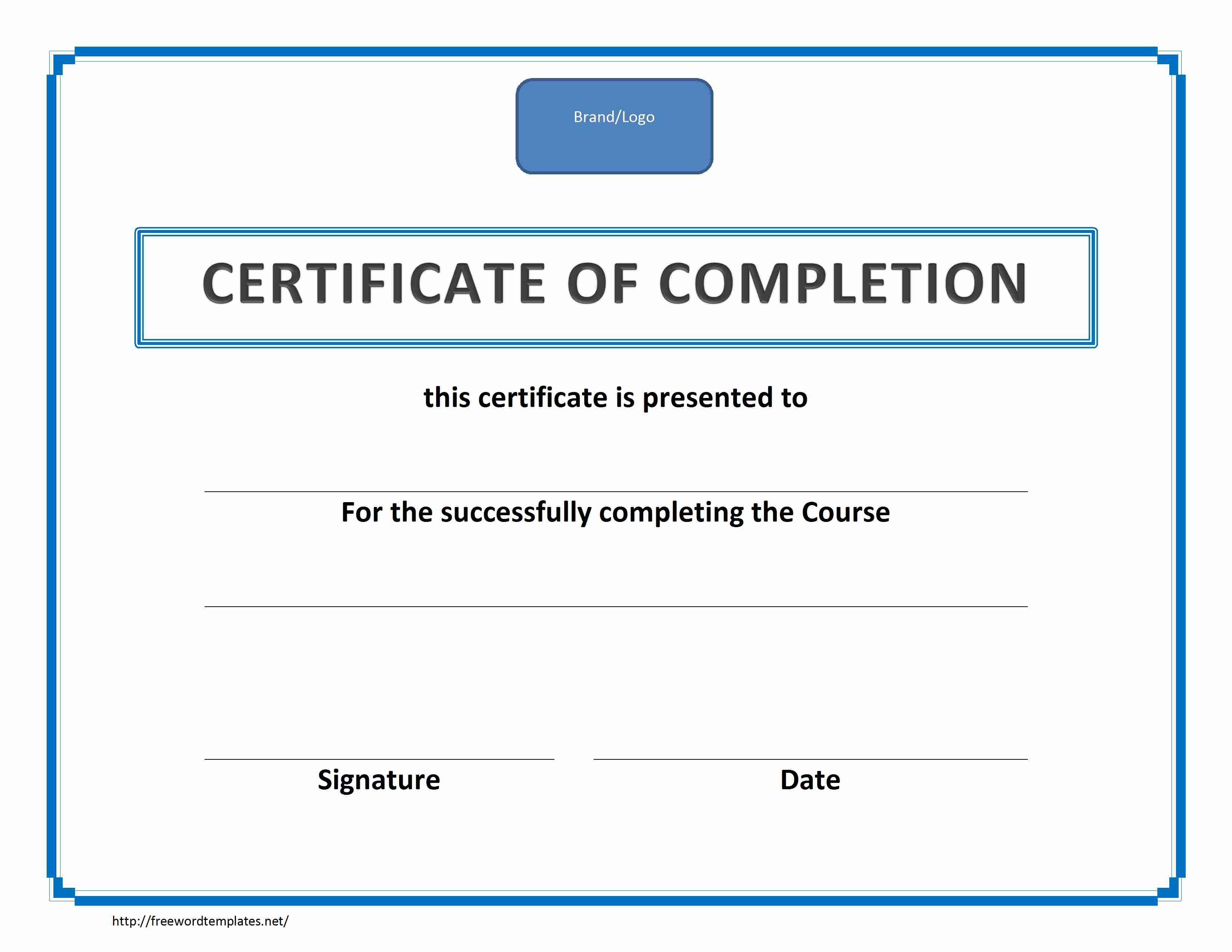 Training Certificate Of Completion Pertaining To Certificate Of Completion Word Template