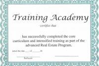 Training Certificate Template – Certificate Templates in Template For Training Certificate