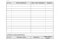 Training Record Format intended for Training Evaluation Report Template