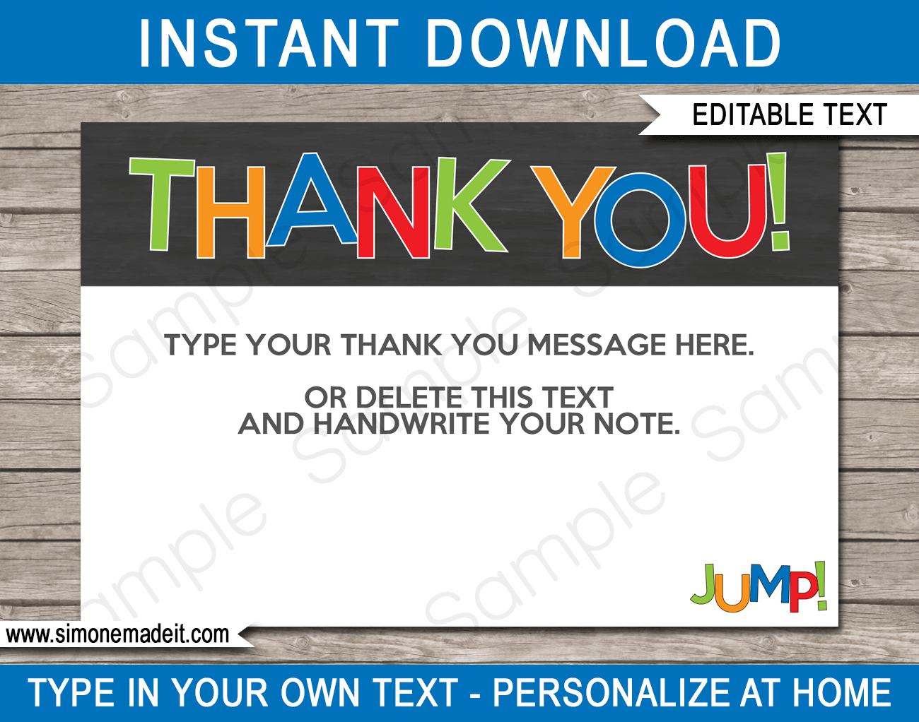 Trampoline Party Thank You Cards Template – Boys Intended For Soccer Thank You Card Template