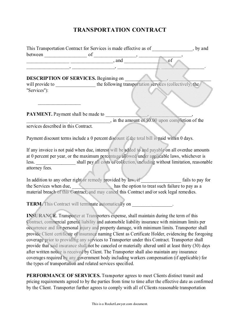 Transportation Contract Agreement Form With Sample  Broker Within Towing Service Agreement Template