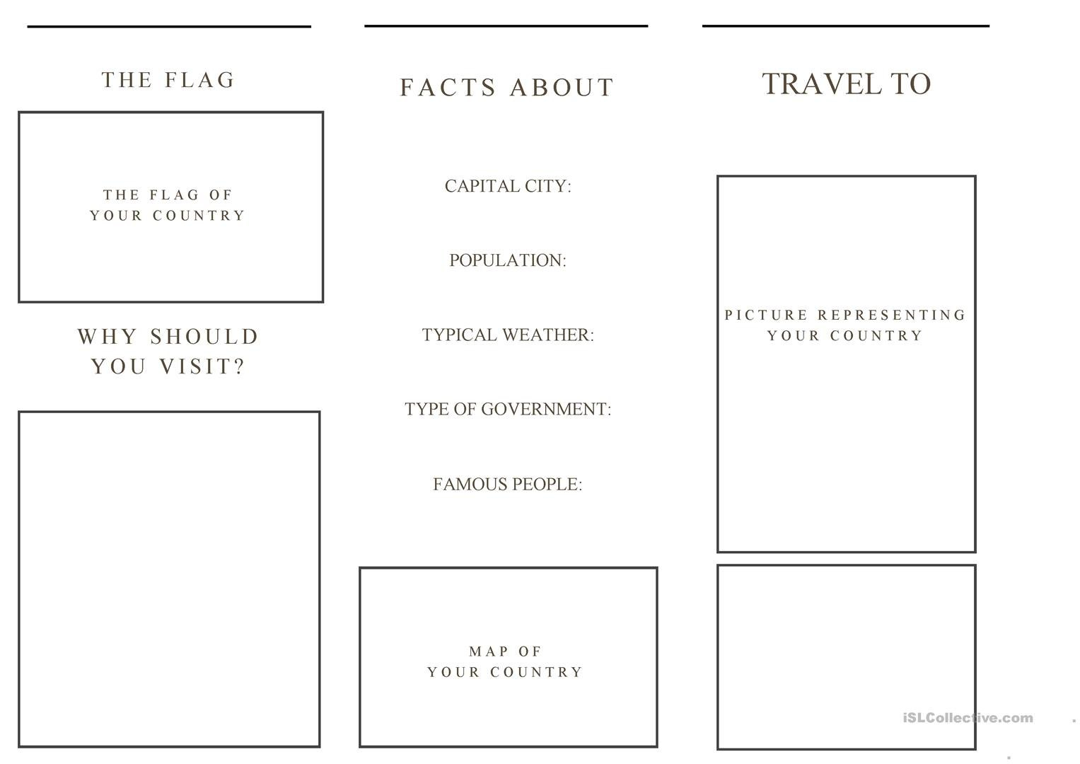 Travel Brochure Template And Example Brochure Worksheet  Free Esl Within Travel Brochure Template For Students