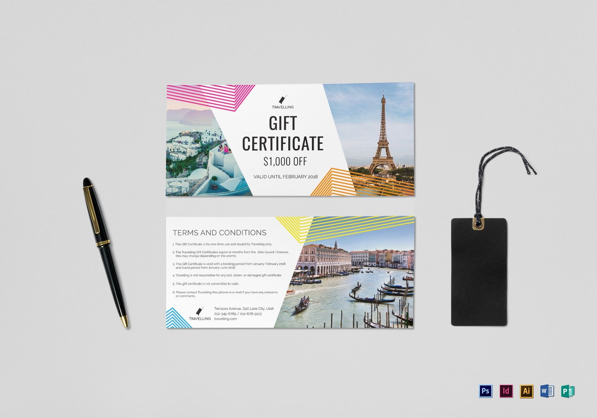 Travel Gift Certificate Design Template In Psd Word Publisher With Publisher Gift Certificate Template