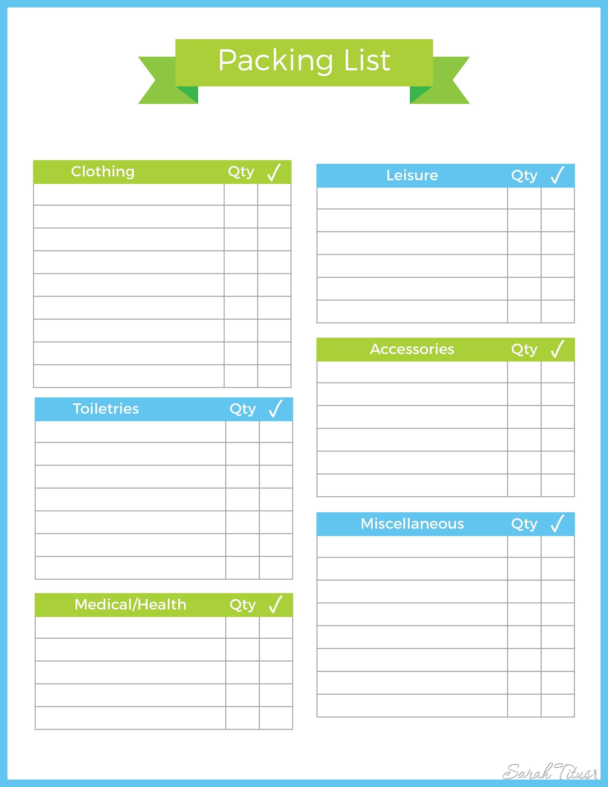 Travel Packing List Template Binder Sarah Titus Inside Blank For Blank Packing List Template