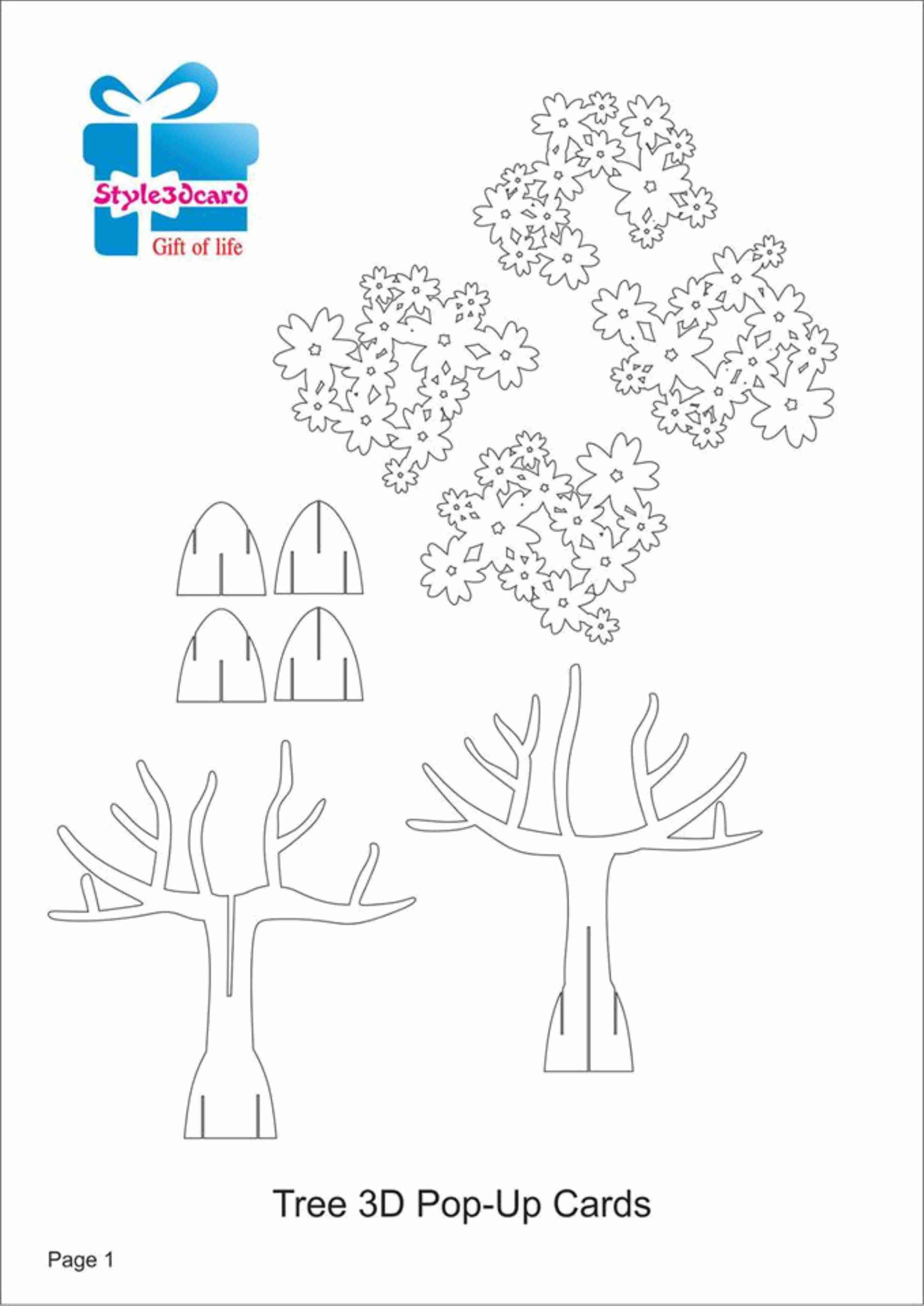 Tree D Pop Up Card Kirigami Pattern   Kirigami Art  Pop Up Card Throughout Pop Up Tree Card Template