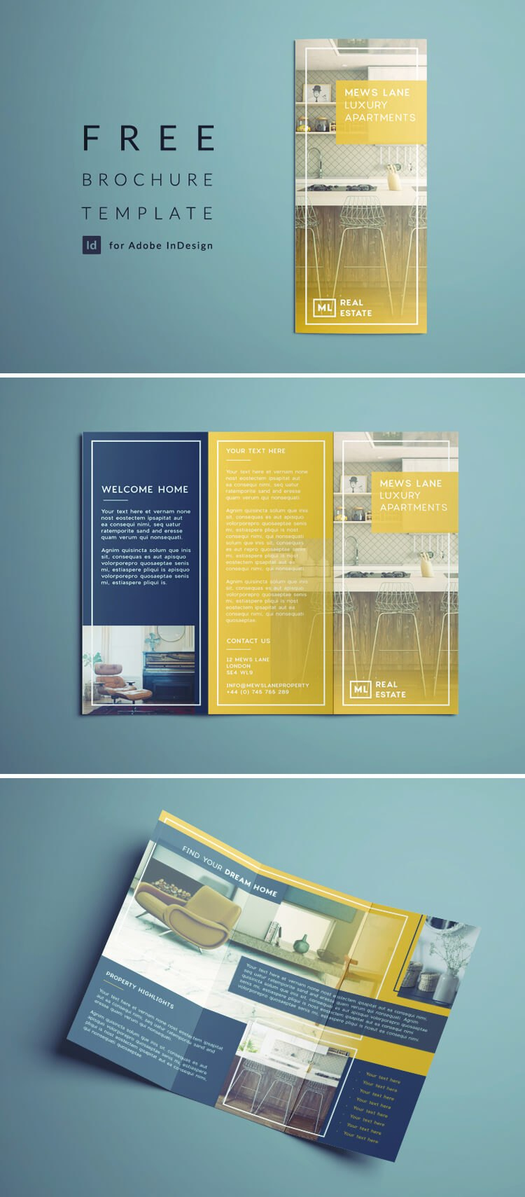 Tri Fold Brochure  Free Indesign Template With Regard To Adobe Indesign Tri Fold Brochure Template