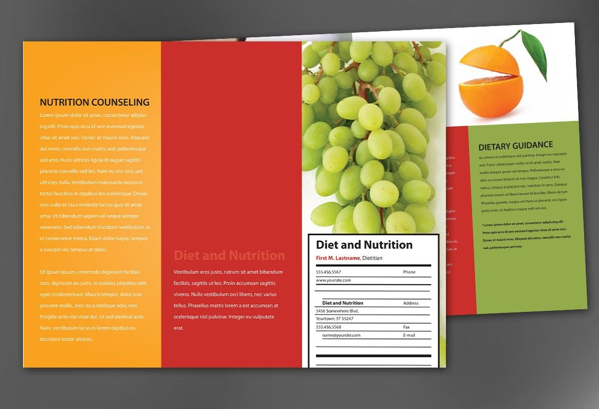 Tri Fold Brochure Template For Health And Nutrition Order Custom In Nutrition Brochure Template