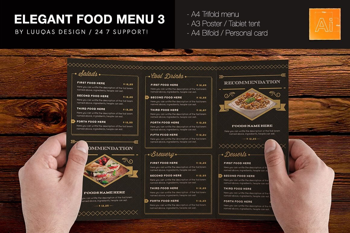 Tri Fold Menu Template  Template Business Intended For Bi Fold Menu Template