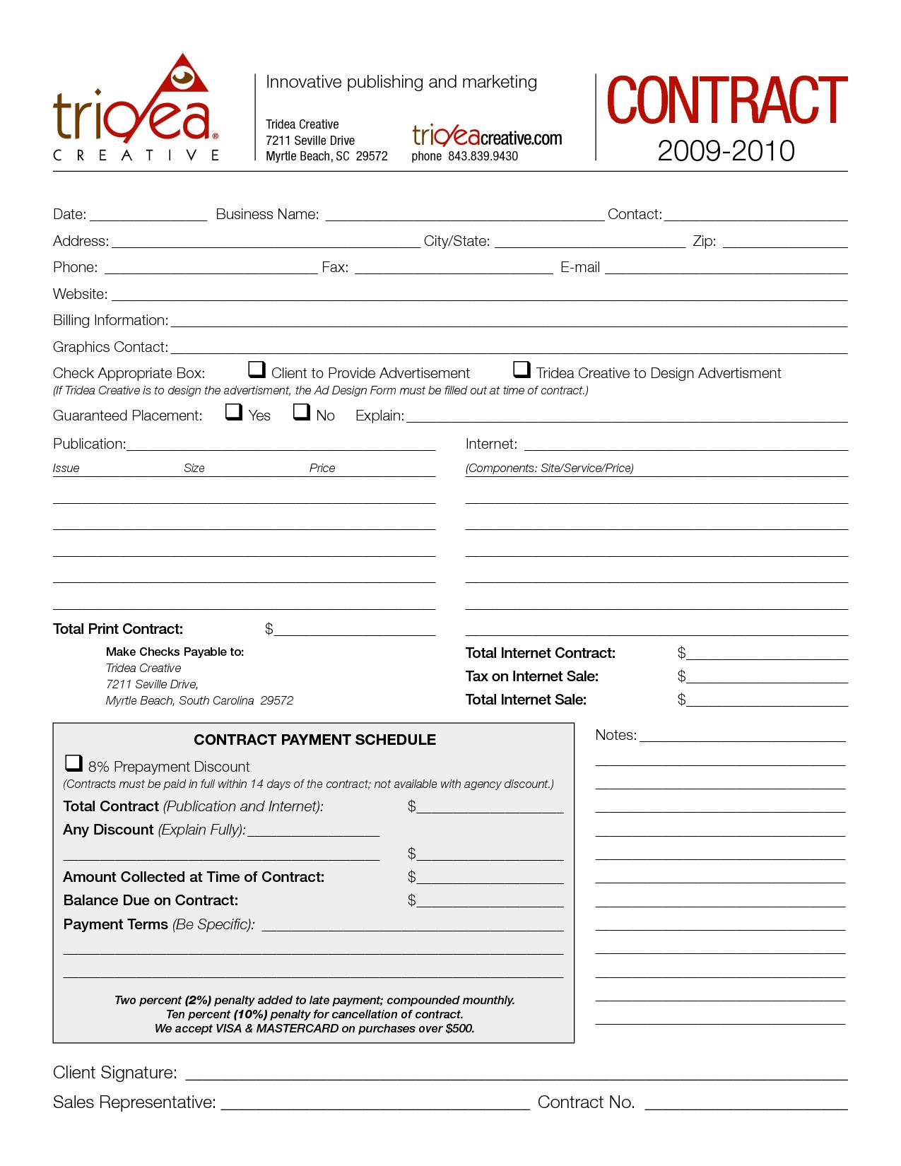 Tridea Advertising Contractglipscomb  Advertising Contract Intended For Free Advertising Agency Agreement Template
