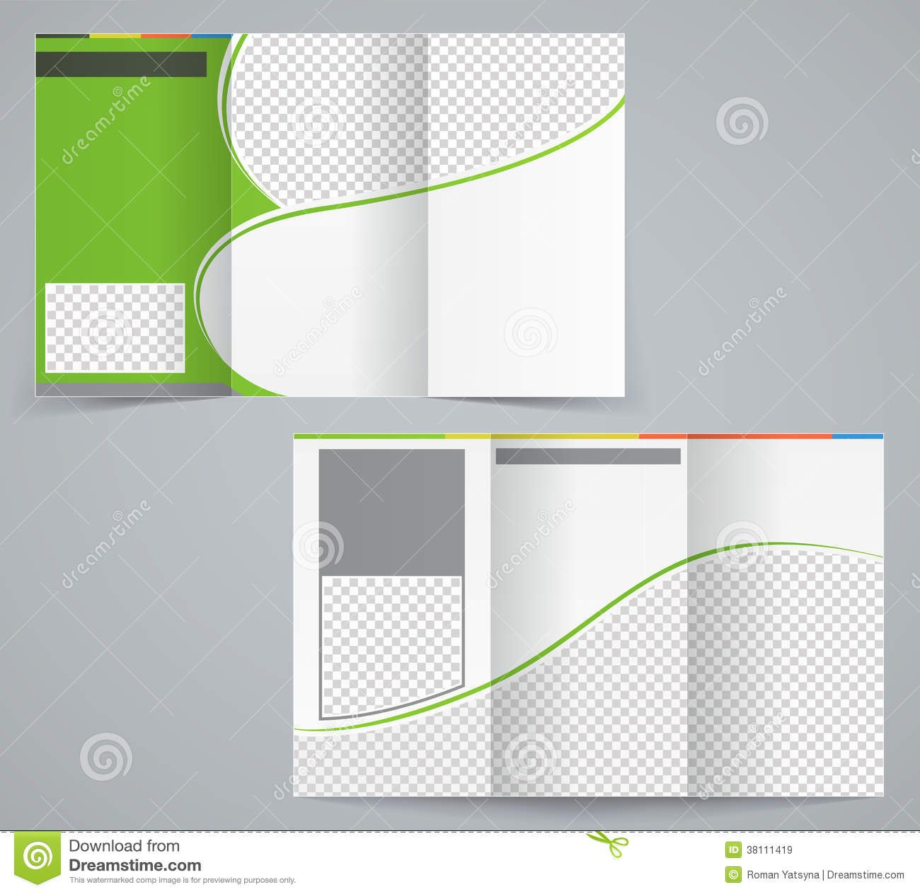 Trifold Business Brochure Template Vector Green Stock Vector Regarding Tri Fold Brochure Template Illustrator