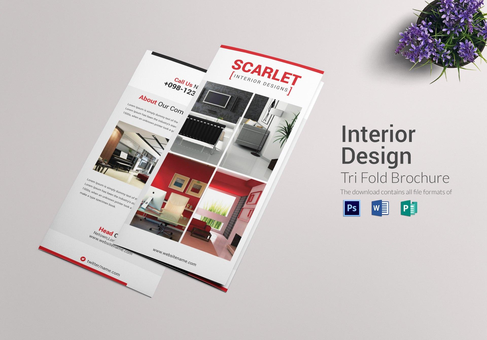 Trifold Interior Design Brochure Template In Tri Fold Brochure Publisher Template