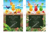 Tropical Hawaiian Cocktail Menu Beach Bar Stock Vector Royalty Free for Hawaiian Menu Template