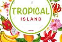 Tropical Hawaiian Template Design Exotic Fruits Stock Vector throughout Hawaiian Menu Template