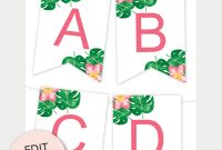 Tropical Printable Banner  Free Printables  Free Printable Wall for Free Letter Templates For Banners