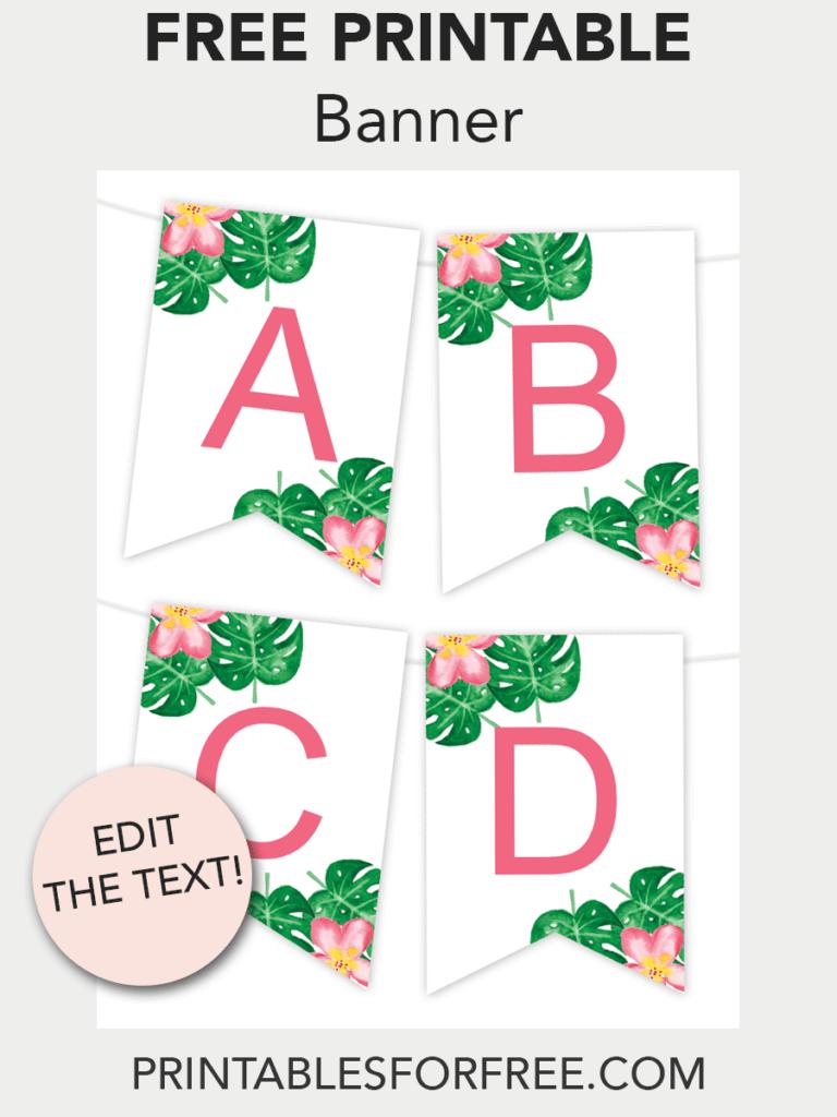 Tropical Printable Banner  Free Printables  Free Printable Wall Regarding Free Printable Party Banner Templates