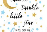 Twinkle Twinkle Little Star Text With Golden Oranment And Blue Star throughout Baby Shower Banner Template
