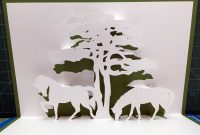 Two Horses With Tree Popup Card Template From Cahier De Kirigami for Pop Up Tree Card Template
