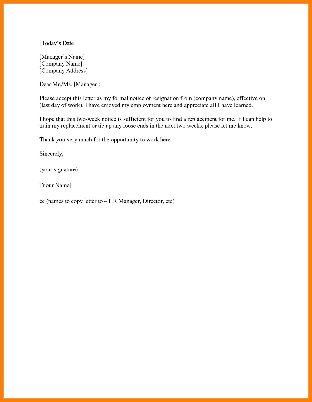 Two Weeks Notice Template Word  Managementoncall With Two Week Notice Template Word