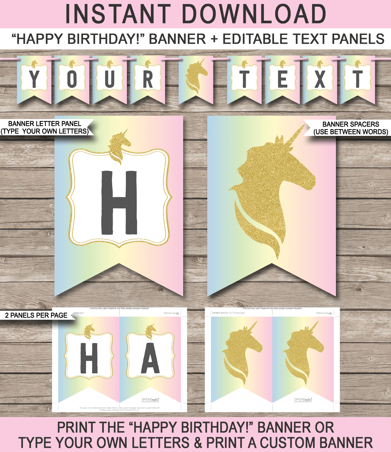 Unicorn Pennant Banner Template  Unicorn  Pennant Banner Template Intended For Free Happy Birthday Banner Templates Download