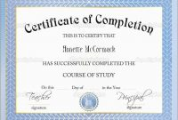 Unique Certificate Of Completion Template Free Download  Best Of throughout Certificate Of Completion Free Template Word