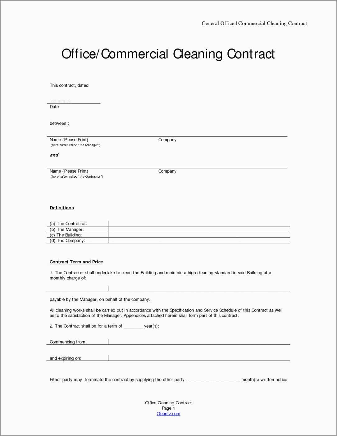 Unique Free Cleaning Service Contract Template  Best Of Template In Janitorial Service Agreement Template