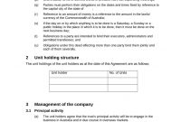 Unit Holders Agreement With Trust  Download In Word Immediately with regard to Unitholders Agreement Template