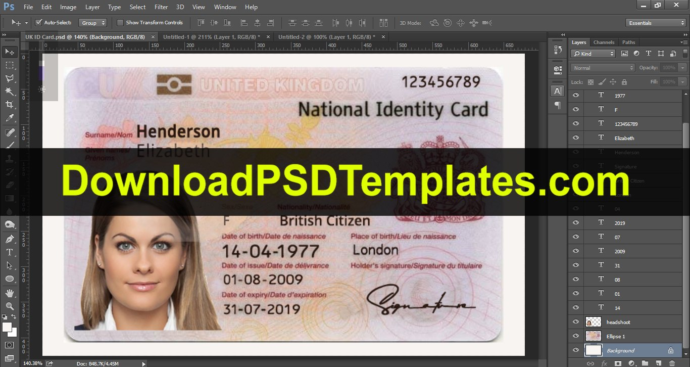 United Kingdom National Identity Card Template Uk Id Card With Personal Identification Card Template