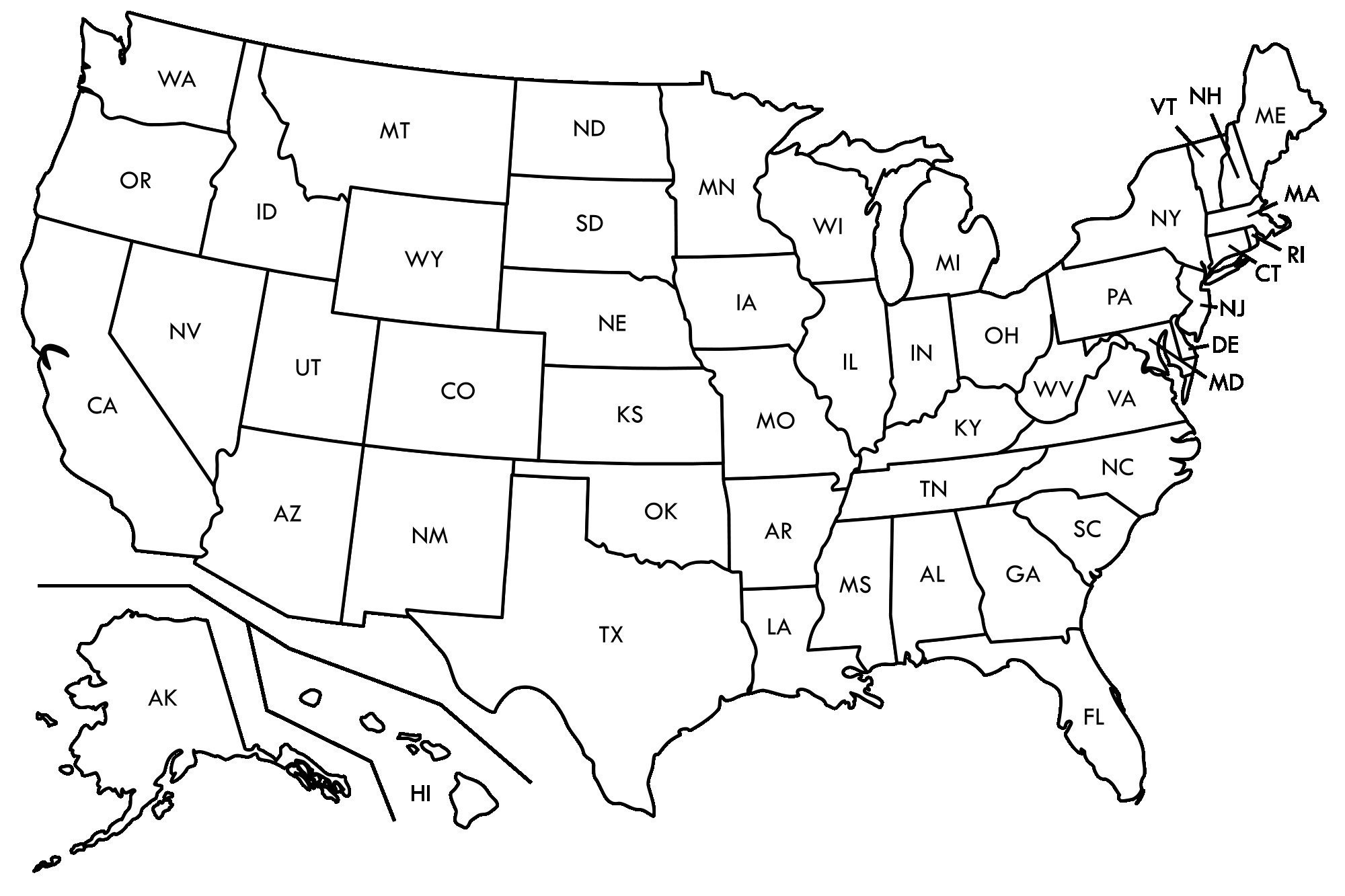 United States Quiz » Maps For Blank Template Of The United States
