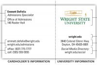 University Business Card  Office Of Marketing  Wright State University throughout Graduate Student Business Cards Template