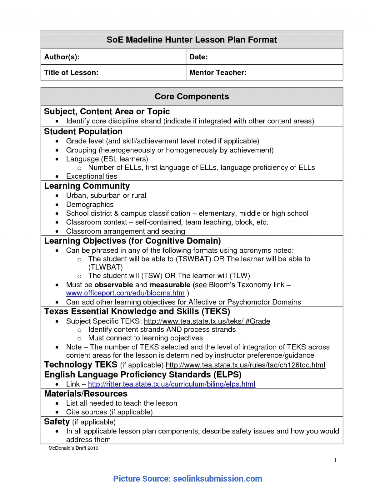Unusual A Modern Version Of Madeline Hunter Lesson Plan Template For Madeline Hunter Lesson Plan Blank Template