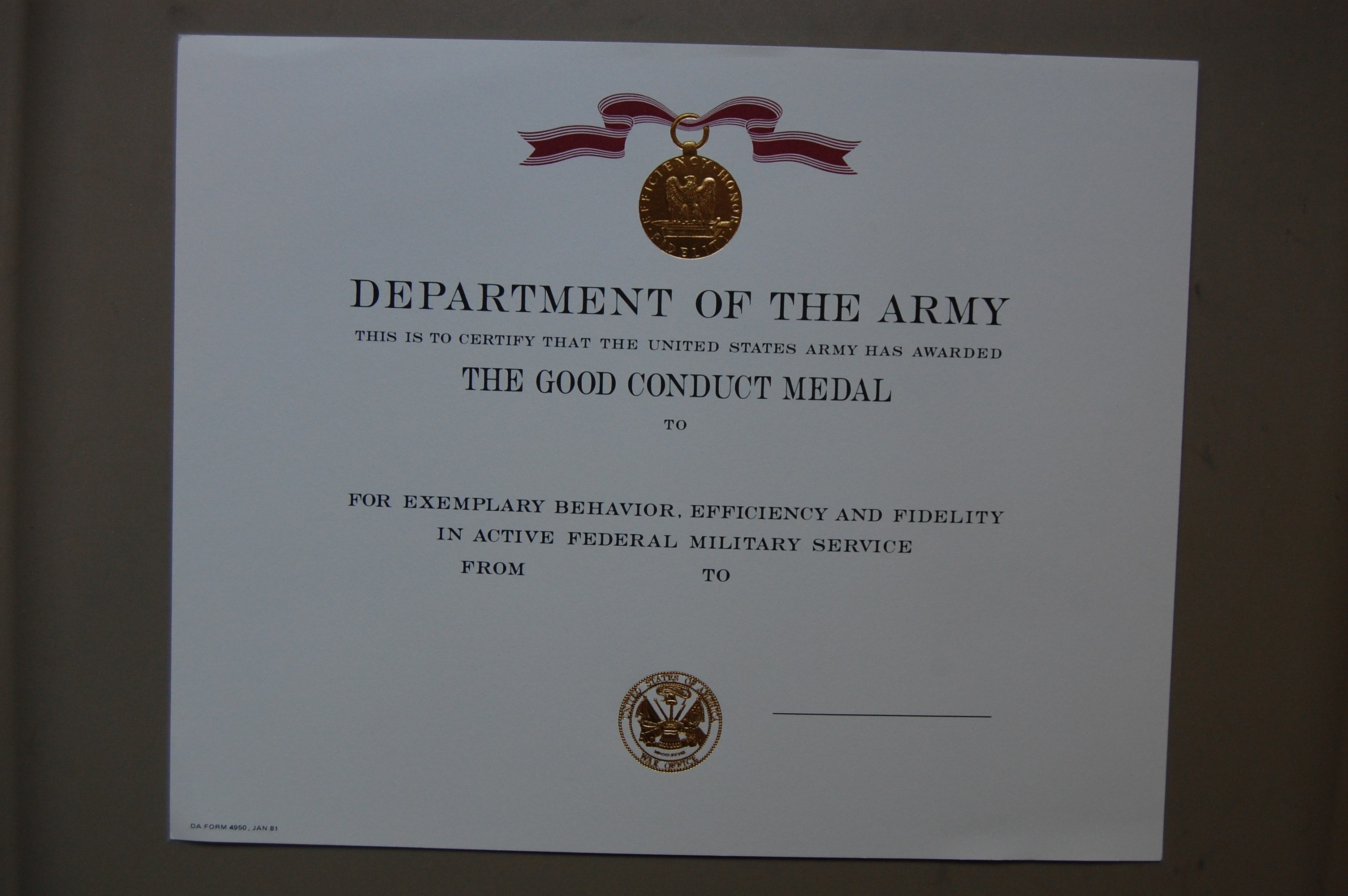 Us Army Good Conduct Medal Certificate  Embossed Within Army Good Conduct Medal Certificate Template