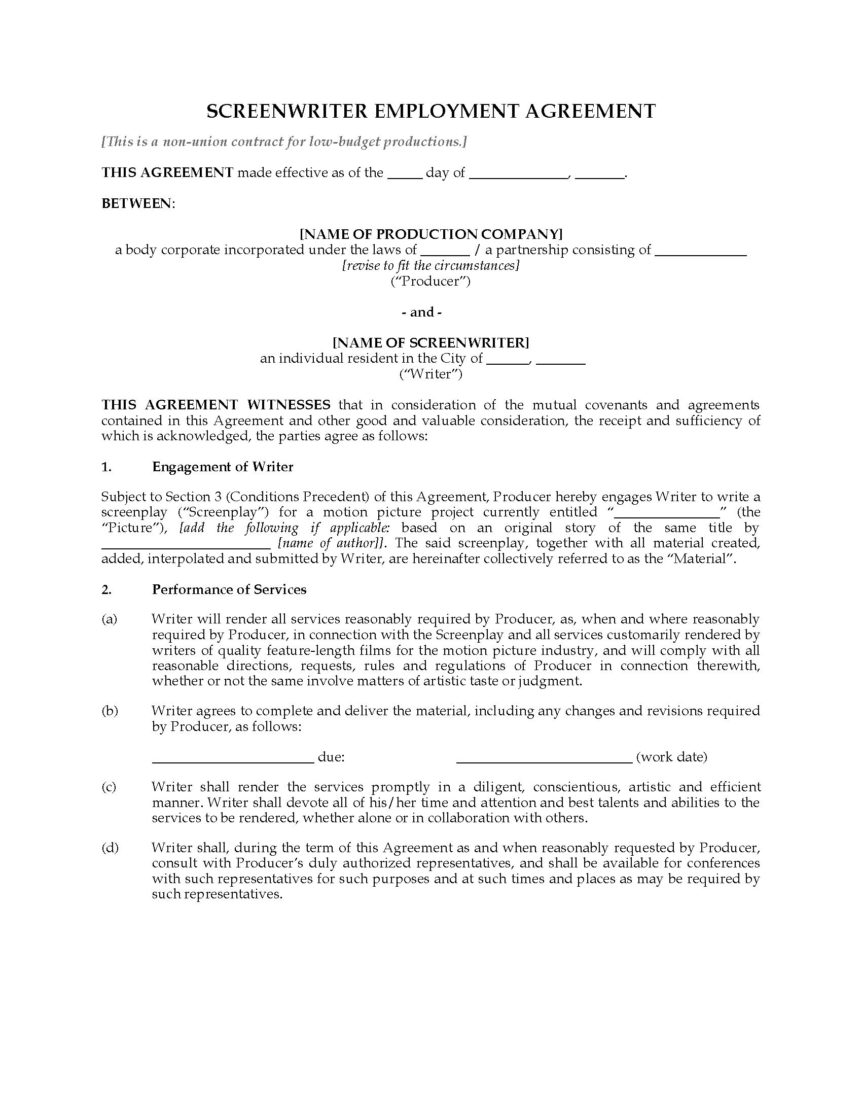 Usa Screenwriter Employment Agreement Nonunion  Legal Forms And With Regard To Screenplay Option Agreement Template