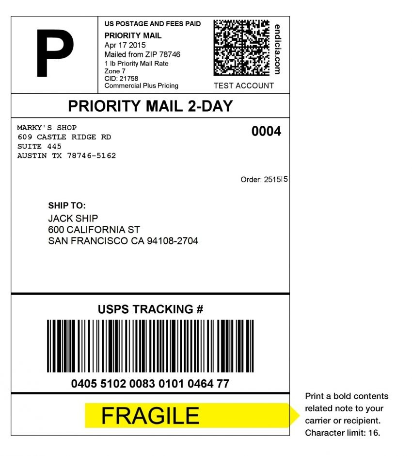 Usps Shipping Label Template Printable With Usps Shipping Label Template
