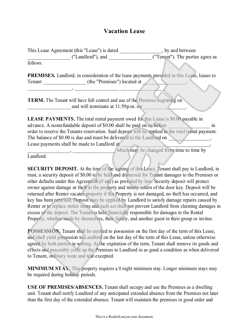 Vacation Rental Agreement Contract  Vacation Lease Template With With Regard To Short Term Vacation Rental Agreement Template