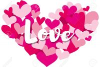 Valentine Card Template With Word Love On Heart Shapes Illustration within Valentine Card Template Word