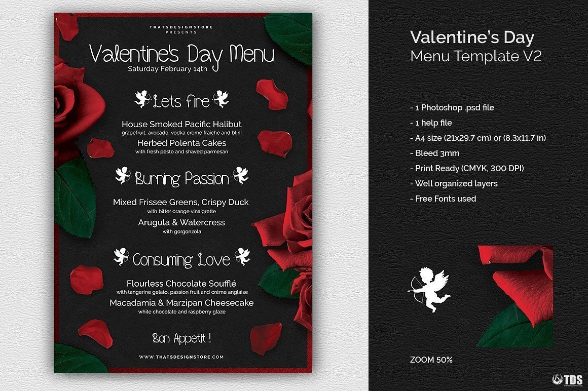 Valentine's Day Menu Template V  Free Posters Design For Photoshop In Valentine Menu Templates Free