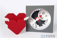 Valentine's Day Papercut Template Tunnel Card I Love You  Etsy regarding 3D Heart Pop Up Card Template Pdf